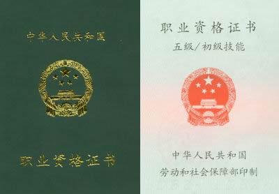 业资格证书样本